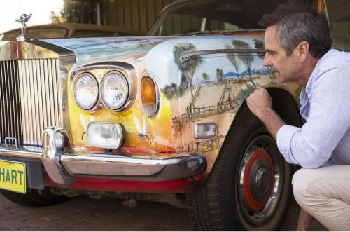 Rolls Royce vehicle detailed with Pro Hart artwork at the Pro Hart Gallery in Broken Hill.<br>Credit: Destination NSW