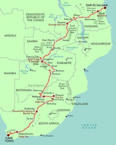 Dar es Salaam to Cape Town Map